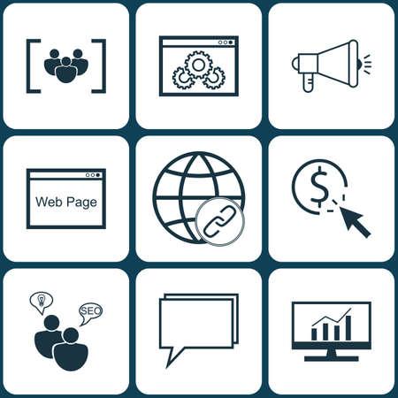 Ensemble de 9 icônes publicitaires. Peut être utilisé pour Web, Mobile, UI et conception infographique. Inclut des éléments tels que Link, Consulting, Viral And More.