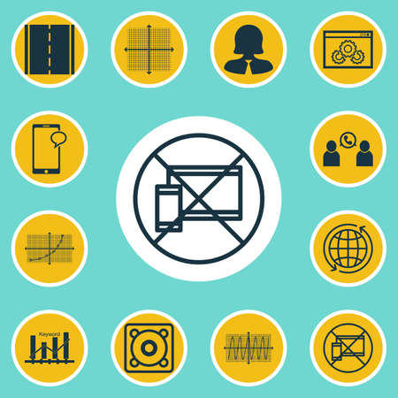 graphical chart: Set Of 12 Universal Editable Icons. Can Be Used For Web, Mobile And App Design. Includes Elements Such As Phone Conference, Keyword Optimisation, Line Grid And More. Illustration
