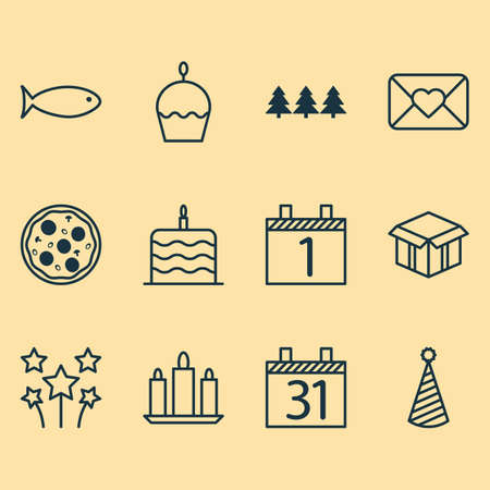 swimming candles: Set Of 12 Holiday Icons. Can Be Used For Web, Mobile, UI And Infographic Design. Includes Elements Such As Calendar, Envelope, Agenda And More. Illustration
