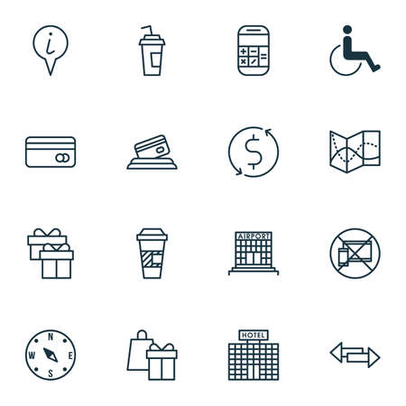 armchair shopping: Set Of 16 Transportation Icons. Can Be Used For Web, Mobile, UI And Infographic Design. Includes Elements Such As Accessibility, Disabled, Calculator And More.
