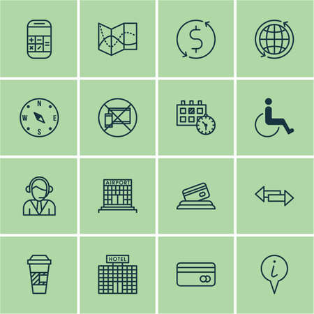infirm: Set Of 16 Travel Icons. Can Be Used For Web, Mobile, UI And Infographic Design. Includes Elements Such As Center, Debit, Paralyzed And More.