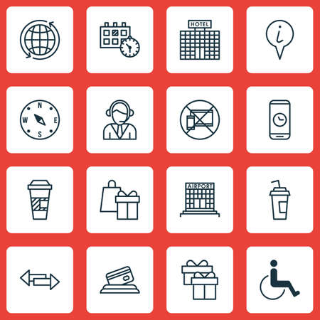 infirm: Set Of 16 Travel Icons. Can Be Used For Web, Mobile, UI And Infographic Design. Includes Elements Such As Device, Info, Locate And More. Illustration