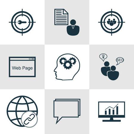 Ensemble de 9 icônes SEO. Peut être utilisé pour le Web, Mobile, UI et conception infographique. Inclut des éléments tels que la correspondance, le référencement, la mise au point et bien plus encore.
