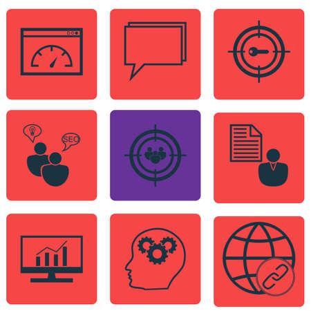 Ensemble de 9 icônes marketing. Peut être utilisé pour le Web, Mobile, UI et conception infographique. Inclut des éléments tels que la dynamique, le résumé, le mot-clé et bien plus.