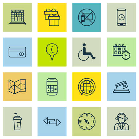paralyzed: Set Of 16 Traveling Icons. Can Be Used For Web, Mobile, UI And Infographic Design. Includes Elements Such As Around, Paralyzed, Present And More. Illustration