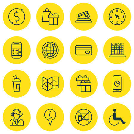 tour operator: Set Of 16 Transportation Icons. Can Be Used For Web, Mobile, UI And Infographic Design. Includes Elements Such As Center, Shopping, Compass And More.