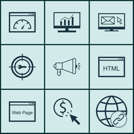 Set Of 9 SEO Icons. Can Be Used For Web, Mobile, UI And Infographic Design. Includes Elements Such As Viral, HTML, Code And More. Illustration