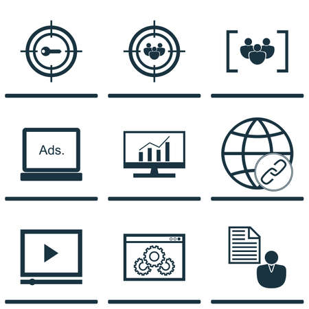 bulding: Set Of 9 Marketing Icons. Can Be Used For Web, Mobile, UI And Infographic Design. Includes Elements Such As Display, Bulding, Comprehensive And More.