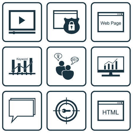 dynamic html: Set Of 9 Marketing Icons. Can Be Used For Web, Mobile, UI And Infographic Design. Includes Elements Such As SEO, Page, Security And More.