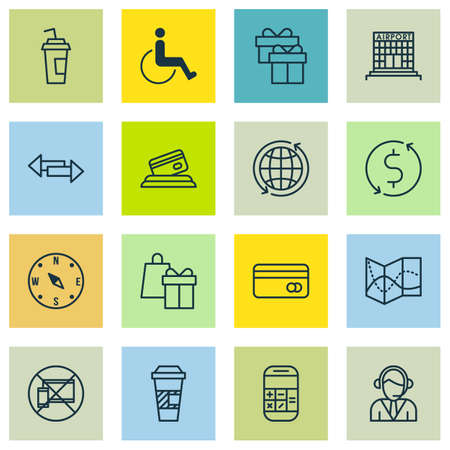 infirm: Set Of 16 Transportation Icons. Can Be Used For Web, Mobile, UI And Infographic Design. Includes Elements Such As Cup, Mobile, Airport And More. Illustration