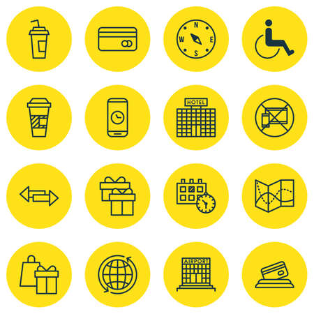 paralyzed: Set Of 16 Traveling Icons. Can Be Used For Web, Mobile, UI And Infographic Design. Includes Elements Such As Paralyzed, Around, No And More.