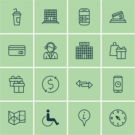 paralyzed: Set Of 16 Traveling Icons. Can Be Used For Web, Mobile, UI And Infographic Design. Includes Elements Such As Paralyzed, Office, Math And More.