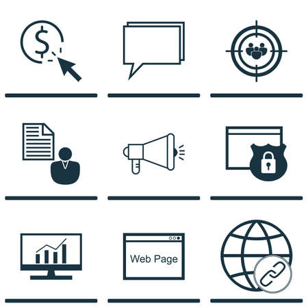 Set Of 9 SEO Icons. Can Be Used For Web, Mobile, UI And Infographic Design. Includes Elements Such As Client, Analytics, Conference And More.