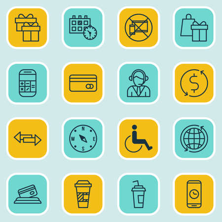 paralyzed: Set Of 16 Airport Icons. Can Be Used For Web, Mobile, UI And Infographic Design. Includes Elements Such As Paralyzed, Compass, Call And More. Illustration