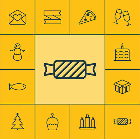 wax sell: Set Of 12 Holiday Icons. Can Be Used For Web, Mobile, UI And Infographic Design. Includes Elements Such As Celebrating, Celebration, Caramel And More.