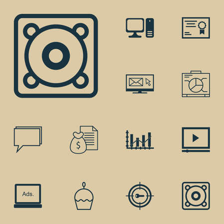profit celebration: Set Of 12 Universal Editable Icons. Can Be Used For Web, Mobile And App Design. Includes Elements Such As Certificate, Desktop Computer, Birthday Cake And More.