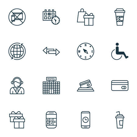 infirm: Set Of 16 Traveling Icons. Can Be Used For Web, Mobile, UI And Infographic Design. Includes Elements Such As Accessibility, Holiday, Card And More.