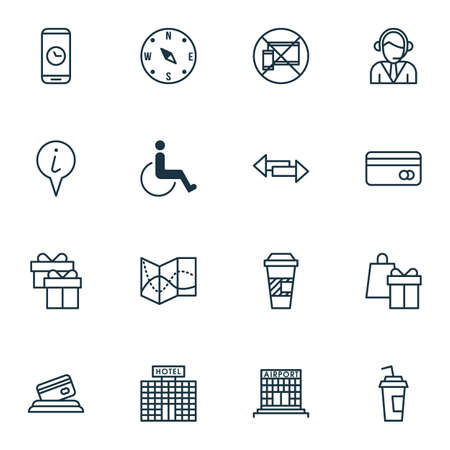 armchair shopping: Set Of 16 Transportation Icons. Can Be Used For Web, Mobile, UI And Infographic Design. Includes Elements Such As Call, Disabled, Holiday And More.
