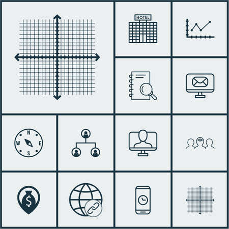 be the identity: Set Of 12 Universal Editable Icons. Can Be Used For Web, Mobile And App Design. Includes Elements Such As Hotel Construction, Changes Graph, Online Identity And More.