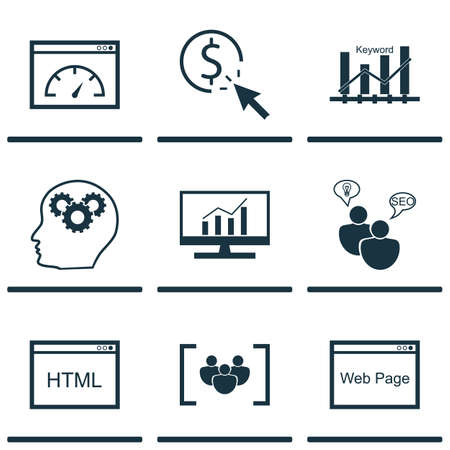dynamic html: Set Of 9 Marketing Icons. Can Be Used For Web, Mobile, UI And Infographic Design. Includes Elements Such As Group, Plan, HTML And More.