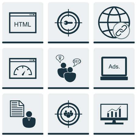 Ensemble de 9 icônes publicitaires. Peut être utilisé pour le Web, Mobile, UI et conception infographique. Inclut des éléments tels que le client, la page, le lien, etc.