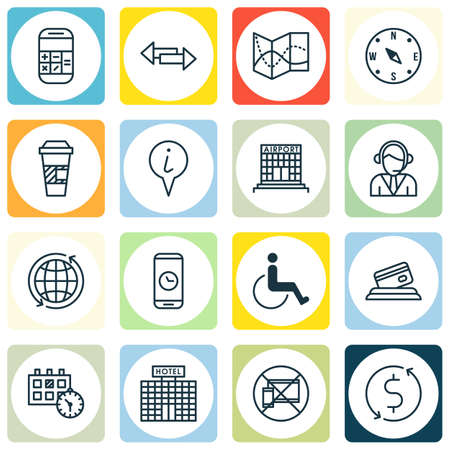 Set Of 16 Travel Icons. Can Be Used For Web, Mobile, UI And Infographic Design. Includes Elements Such As No, Accessibility, Hotel And More.