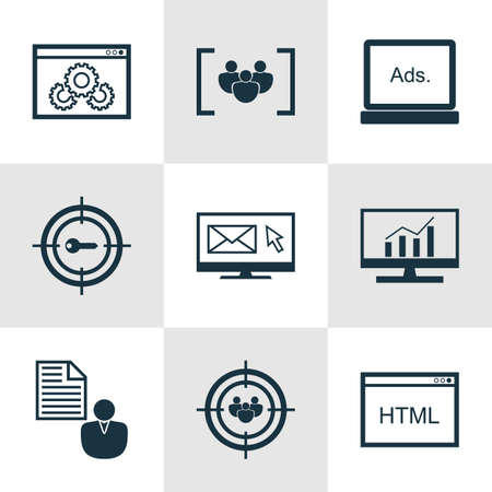 dynamic html: Set Of 9 Marketing Icons. Can Be Used For Web, Mobile, UI And Infographic Design. Includes Elements Such As Web, Client, Keyword And More.