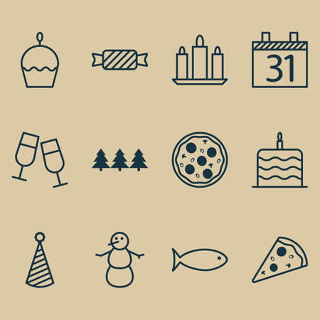 swimming candles: Set Of 12 Celebration Icons. Can Be Used For Web, Mobile, UI And Infographic Design. Includes Elements Such As Piece, Caramel, Cupcake And More.