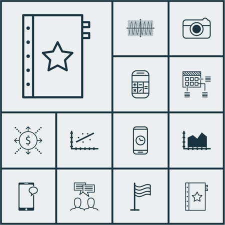 Set Of 12 Universal Editable Icons. Can Be Used For Web, Mobile And App Design. Includes Elements Such As Cosinus Diagram, Messaging, Call Duration And More. Illustration