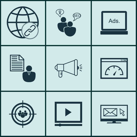 brief: Set Of 9 Marketing Icons. Can Be Used For Web, Mobile, UI And Infographic Design. Includes Elements Such As Client, Brief, Consulting And More.