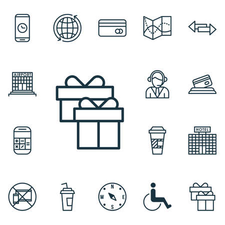 Set van 16 reizende iconen. Kan worden gebruikt voor Web, Mobile, UI en Infographic Design. Bevat elementen zoals Operator, Cup, Mobile en meer.