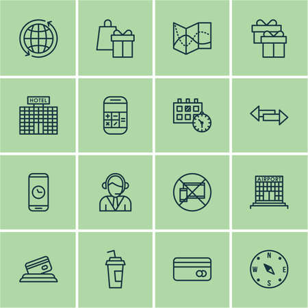 transact: Set Of 16 Travel Icons. Can Be Used For Web, Mobile, UI And Infographic Design. Includes Elements Such As Building, Globe, Calculation And More.