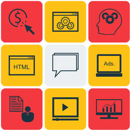 dynamic html: Set Of 9 Advertising Icons. Can Be Used For Web, Mobile, UI And Infographic Design. Includes Elements Such As Plan, Pay, Optimization And More. Illustration