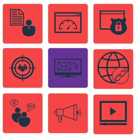 consumer society: Set Of 9 Advertising Icons. Can Be Used For Web, Mobile, UI And Infographic Design. Includes Elements Such As Viral, SEO, Advertising And More.