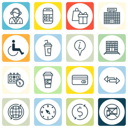infirm: Set Of 16 Transportation Icons. Can Be Used For Web, Mobile, UI And Infographic Design. Includes Elements Such As Crossroad, Globe, Airport And More. Illustration