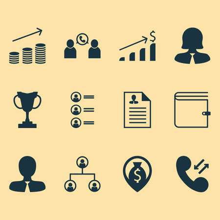 profit celebration: Set Of 12 Management Icons. Can Be Used For Web, Mobile, UI And Infographic Design. Includes Elements Such As Money, Trophy, Applicants And More.