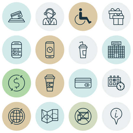 take charge: Set Of 16 Traveling Icons. Can Be Used For Web, Mobile, UI And Infographic Design. Includes Elements Such As Takeaway, Drink, Math And More.