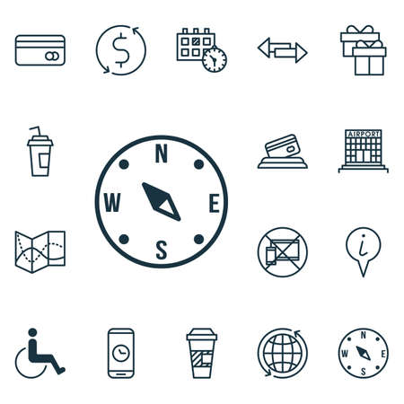 locate: Set Of Transportation Icons On Locate, Plastic Card And Call Duration Topics. Editable Vector Illustration. Includes World, Road, Mobile And More Vector Icons.