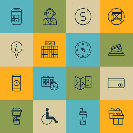 infirm: Set Of Travel Icons On Drink Cup, Money Trasnfer And Info Pointer Topics. Editable Vector Illustration. Includes Gift, Phone, Calculator And More Vector Icons. Illustration
