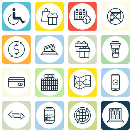 transact: Set Of Traveling Icons On Present, World And Hotel Construction Topics. Editable Vector Illustration. Includes Building, Calculator, Crossroad And More Vector Icons.