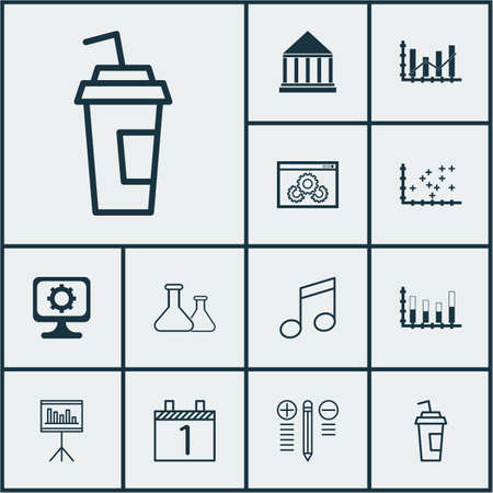 crotchets: Set Of 12 Universal Editable Icons. Can Be Used For Web, Mobile And App Design. Includes Icons Such As Education Center, Crotchets, Website Performance And More. Illustration