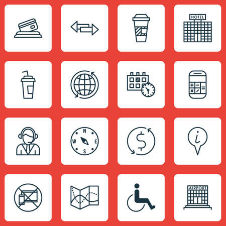 locate: Set Of Airport Icons On Forbidden Mobile, Locate And Calculation Topics. Editable Vector Illustration. Includes Date, Compass, Around And More Vector Icons. Illustration