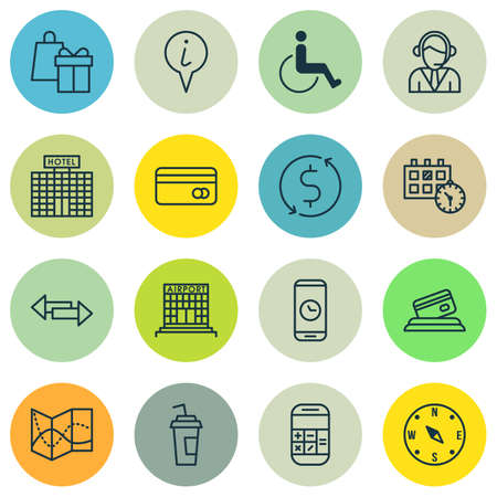 transact: Set Of Traveling Icons On Money Trasnfer, Drink Cup And Operator Topics. Editable Vector Illustration. Includes Dollar, Payment, Calendar And More Vector Icons.