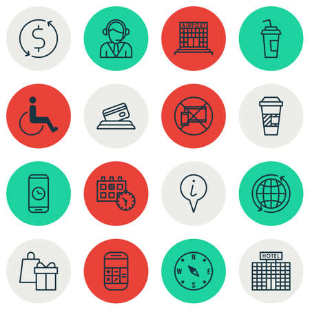 Set Of Airport Icons On Drink Cup, Operator And Info Pointer Topics. Editable Vector Illustration. Includes Card, Call, Exchange And More Vector Icons.