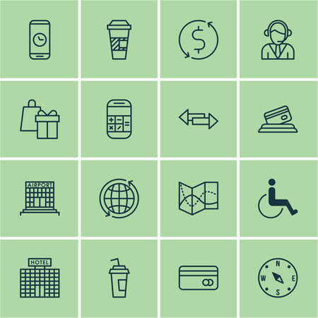 tour operator: Set Of Travel Icons On Calculation, Accessibility And Operator Topics. Editable Vector Illustration. Includes Math, Operator, Time And More Vector Icons.