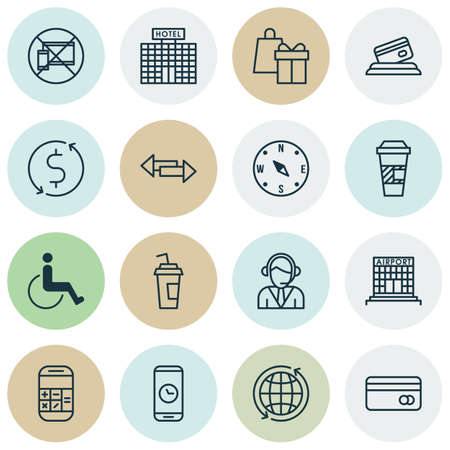 infirm: Set Of Transportation Icons On Credit Card, Crossroad And Airport Construction Topics. Editable Vector Illustration. Includes Card, Payment, Building And More Vector Icons.