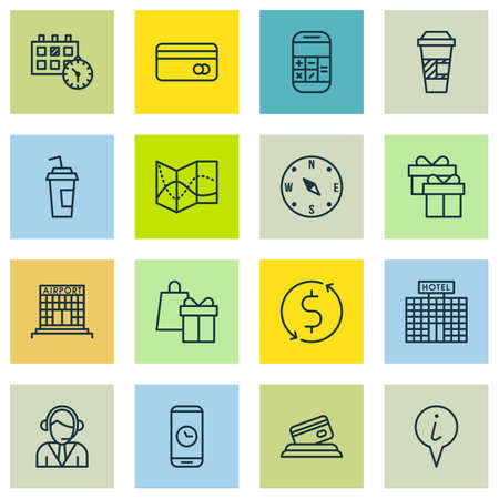 financial position: Set Of Traveling Icons On Credit Card, Operator And Appointment Topics. Editable Vector Illustration. Includes Building, Hotel, Office And More Vector Icons. Illustration
