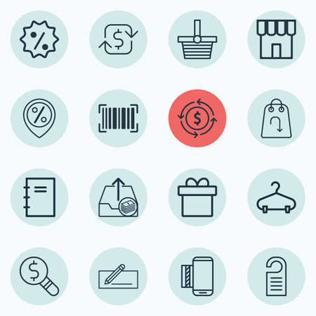 Set Of 16 E-Commerce Icons. Includes Outgoing Earnings, Price, Identification Code And Other Symbols. Beautiful Design Elements.