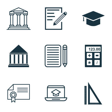article writing: Set Of 9 School Icons. Includes Electronic Tool, Education Center, Graduation And Other Symbols. Beautiful Design Elements. Illustration
