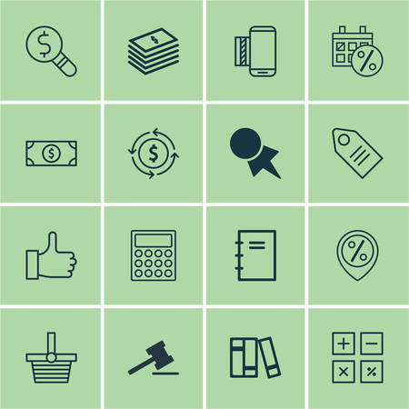 especial: Set Of 16 E-Commerce Icons. Includes Ticket, Calculation Tool, Dollar Banknote And Other Symbols. Beautiful Design Elements.